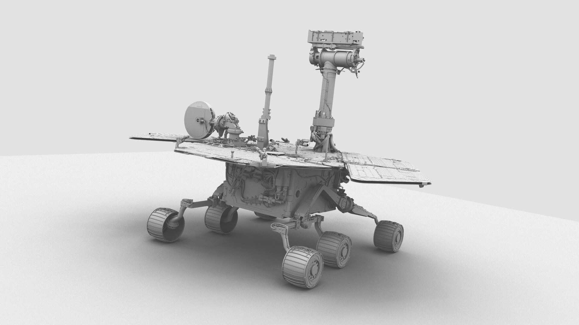 Mars Rover 3D Rendered rear view