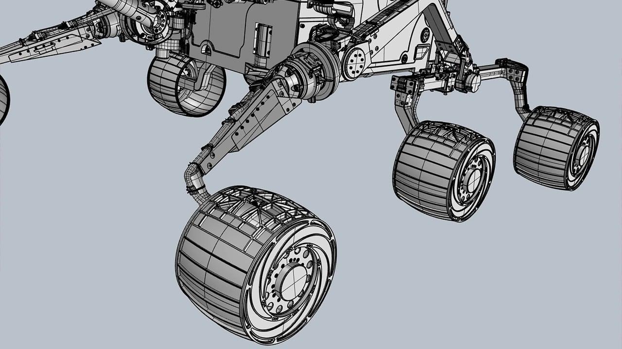Mars Rover 3D Shaded rocker-bogie system